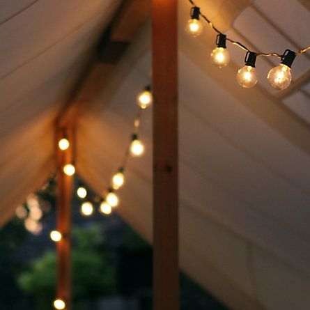 Love these lights hanging from trees or patio covers all year long