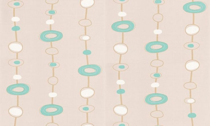 Pop Up (POP5861 6010) - Caselio Wallpapers - A fun Pop art design, with light brown chains of hand drawn circles, filled with white and turquoise blue detail on a pale grey soft textured background. Free pattern match. Please request sample for true colour match.