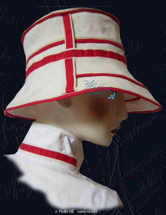 summer hat sand white and red linen universel par MatheHBcouture