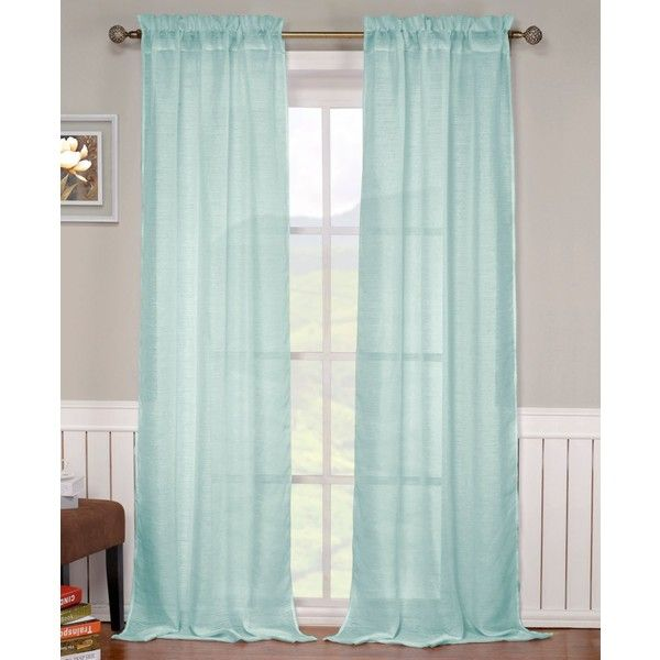 """Duck River Textile Monata Rod Pocket 52"""" x 84"""" Sheer Panel ($13) ❤ liked on Polyvore featuring home, home decor, window treatments, curtains, spa blue, stripe window panel, sheer curtains, sheer window panels, window curtains and blue striped curtains"""