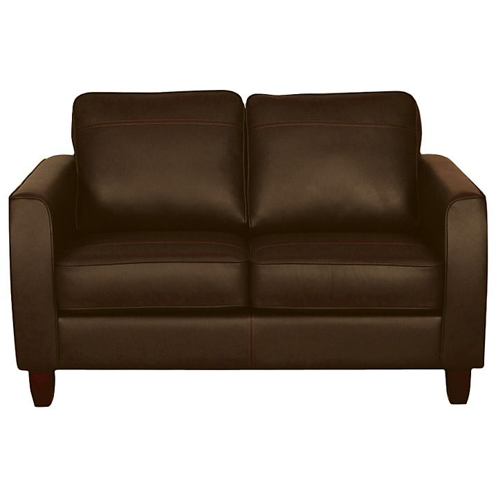 Buy John Lewis Portia Small Leather Sofa with Dark Legs, Madras Earth Hide Online at johnlewis.com