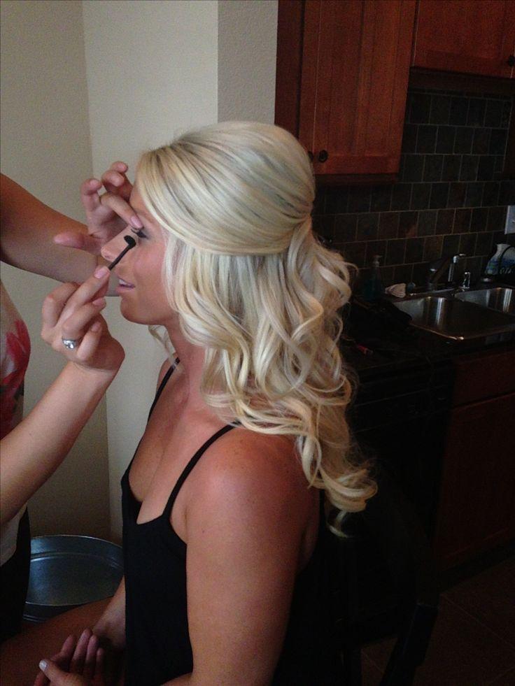 Big curls half updo by Liz vela for ball