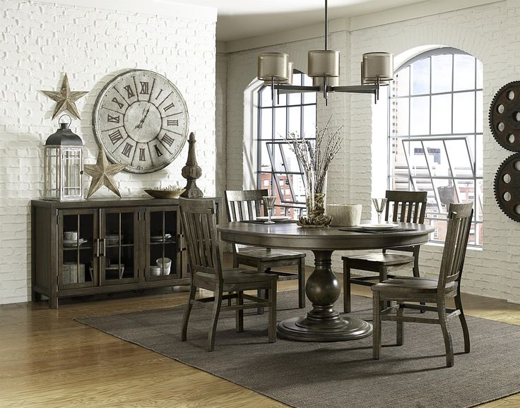 magnussen karlin wood round dining table set casual elegance is the hallmark of the karlin dining collection a quality the magnussen karlin wood round