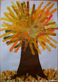 Prace plastyczne - Kolorowe kredki: Drzewo z odbitek dłoni