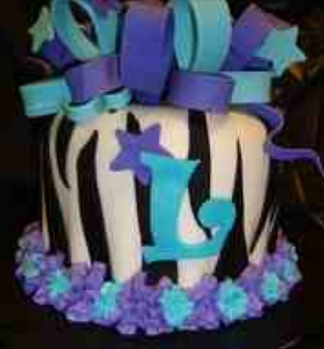 Purple And Turquoise Birthday Cakes