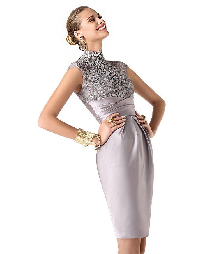Vestidos de noche cortos y elegantes para fiestas con estilo. Elegancia y sensualidad en un vestido gris plata