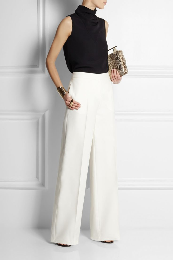 Valentino | Wool and silk-blend wide-leg pants | NET-A-PORTER.COM