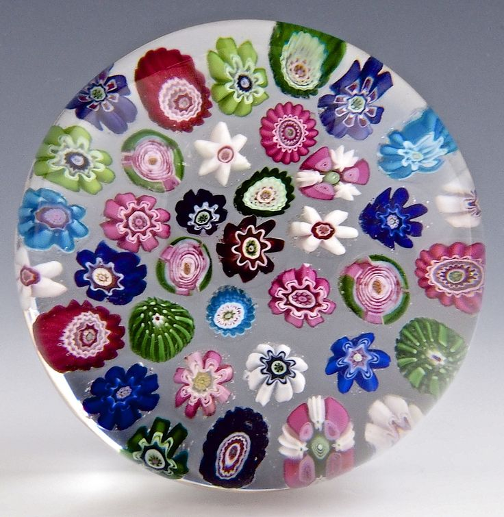 """Clichy {France} paperweight - Antique w/37 canes, including 3 pink rose canes! 1845-50, 2 3/4""""w x 1 7/8""""t, 15.2 oz. - #0769"""