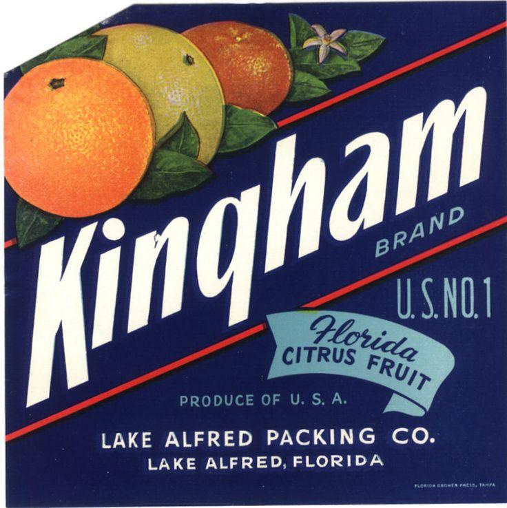 FLORIDA CRATE LABEL VINTAGE KINGHAM LAKE ALFRED RARE ORIGINAL 1930S CITRUS