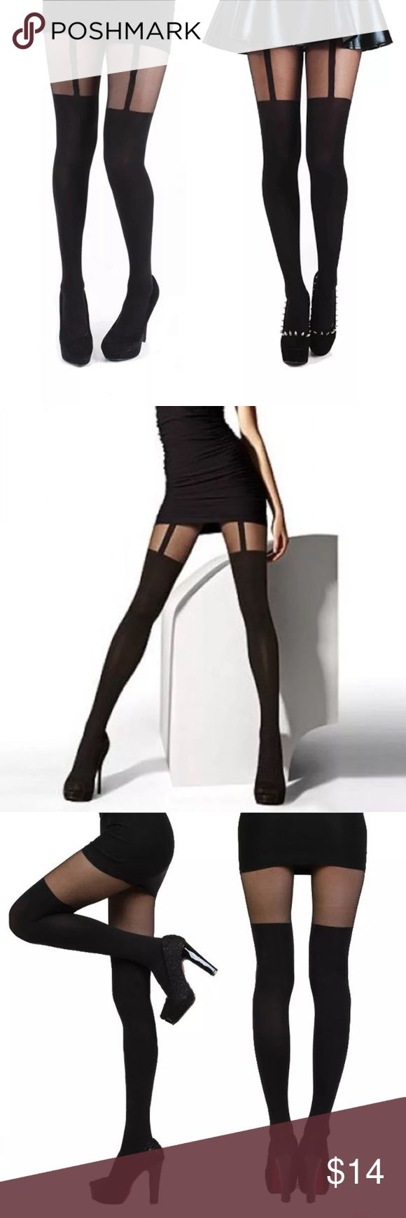 JUST IN sexy black tights w/garter look (S10) NEW sexy black pantyhose tights with garter look...brand new fits XS Accessories Hosiery & Socks