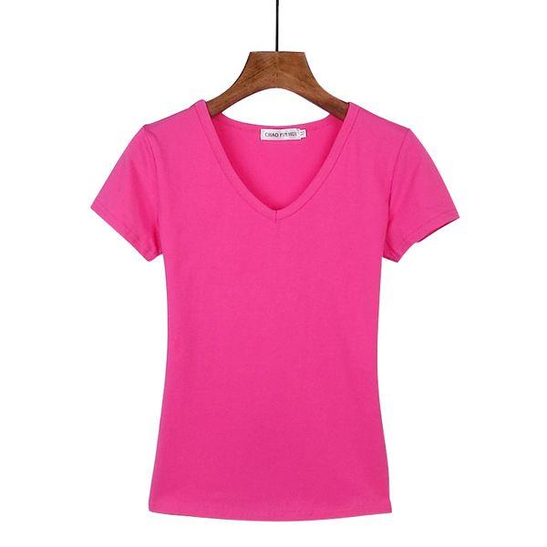 Корейский белый хлопок V-образный вырез с коротким рукавом футболка женской с коротким рукавом футболка Тонкой сострадательная сплошной цвет Amoi рубашка футболка