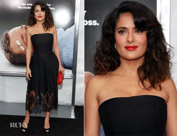 Love the hair, although I'm rapidly getting over the half see-through skirt styles this season. (Salma Hayek In Stella McCartney)