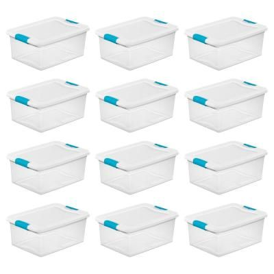 Sterilite 15 Qt Stackable Latching Storage Box Container In Clear 12 Pack 12 X 14948012 In 2020 Stacking Storage Boxes Tote Storage Storage