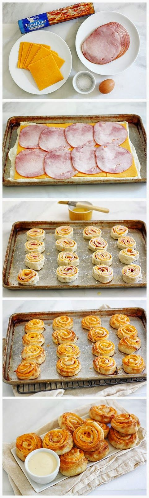 Ham & Cheese Pretzel Bites - Just whip up the dough, let it rise for 2 hours, shape the pretzels, let rise again for 30 minutes, then boil a...
