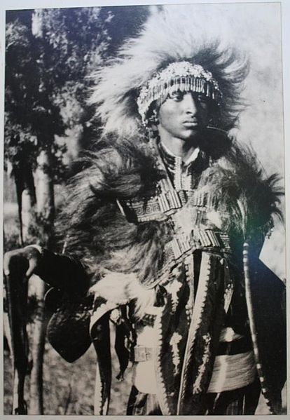 Ras Tafari Makonnen (Haile Selassie I) as a young man in warrior garments. (via theeducatedfieldnegro)