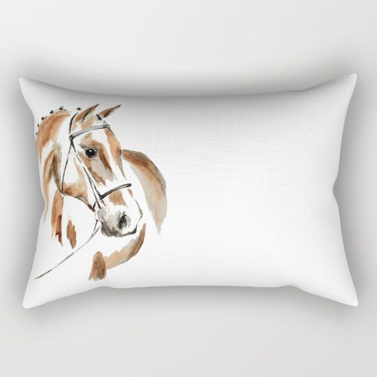 Bay Watercolour Horse Rectangular Pillow by Art By Chrissy Taylor - $27.00