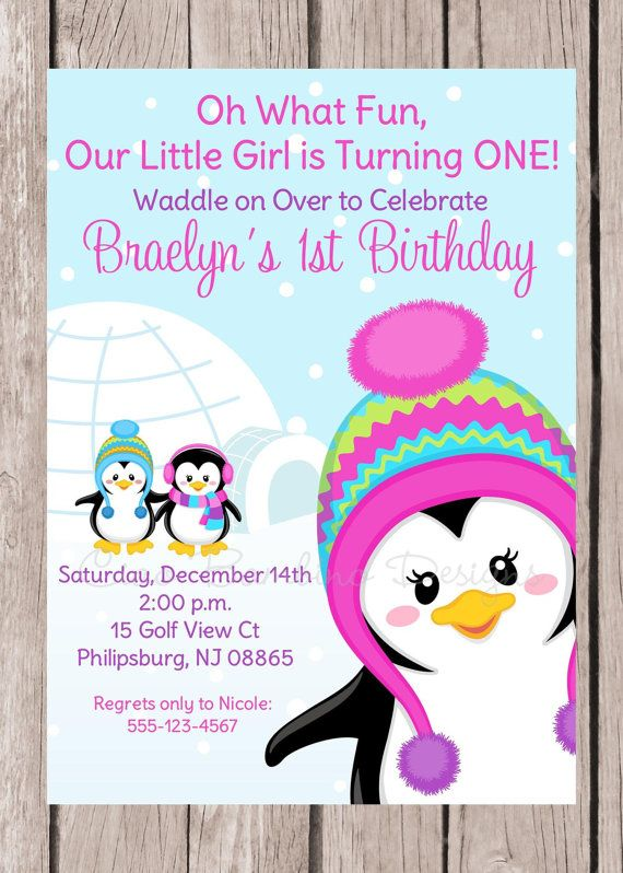 DIY PRINTABLE Penguin ONEderland, Winter Wonderland Invitation for Girls on Etsy, $12.00