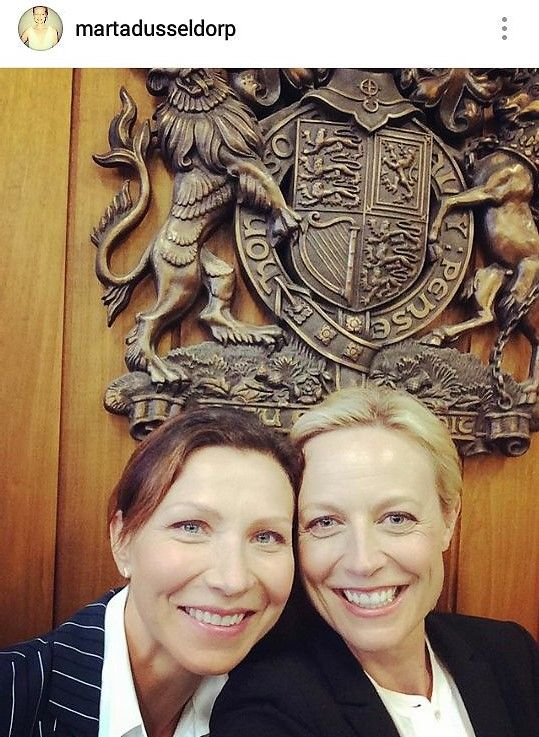 Anita Hegh and Marta Dusseldorp on the set of Janet King Season 2. Bianca Grieve and Janet King. Bianking.