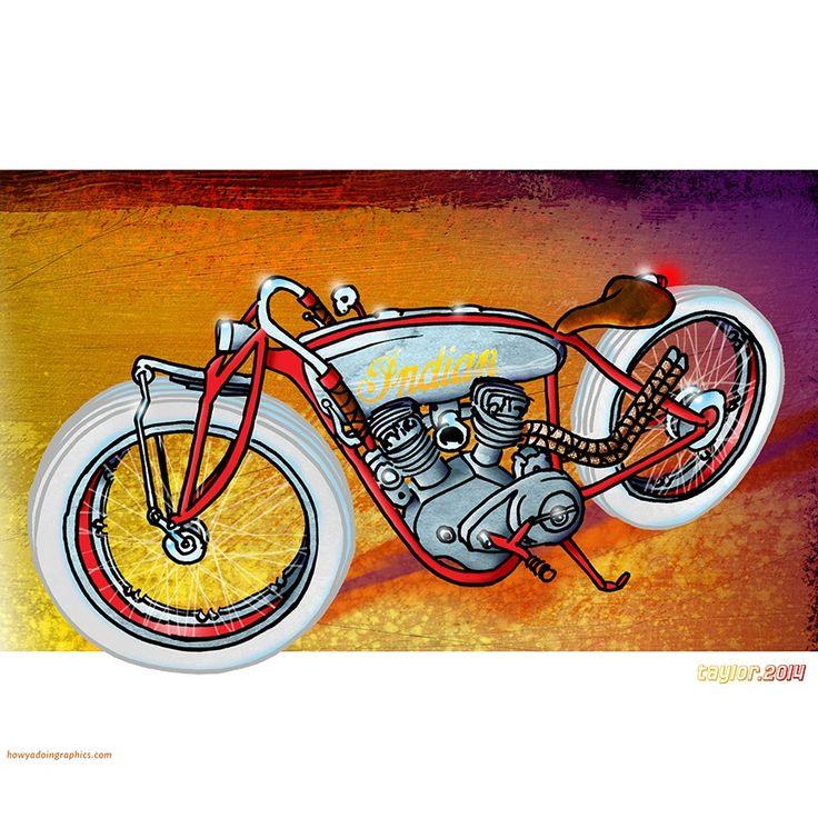 Indian Board Tracker http://www.redbubble.com/people/howyadoin/calendars/13088352-bikes #motorcycle #motorcycleart #boardtracker #indian