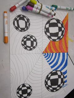 6th grade students are creating Op Art using cones and spheres.  First, they traced circles with a roll of tape and created the curved lunes...