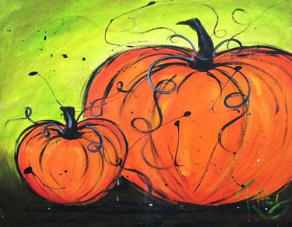 Art Original Acrylic | Two Pumpkins | Original arylic painting on 16 x 20 canvas. on Etsy, $45.00