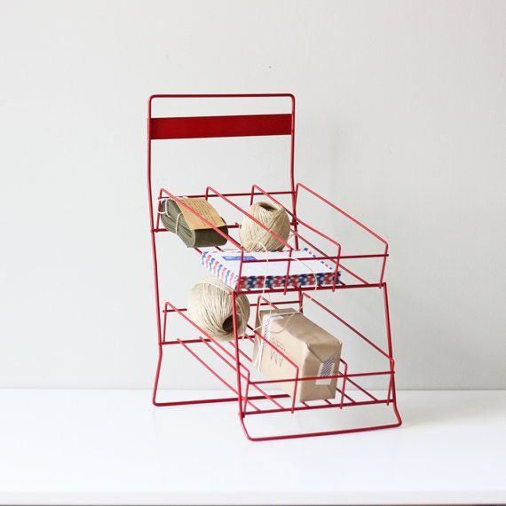 vintage store display rack / divided red rack / by AMradio on Etsy, $60.00