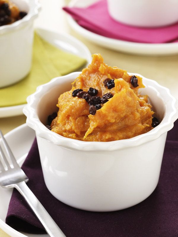 Coconut mashed yams with currants