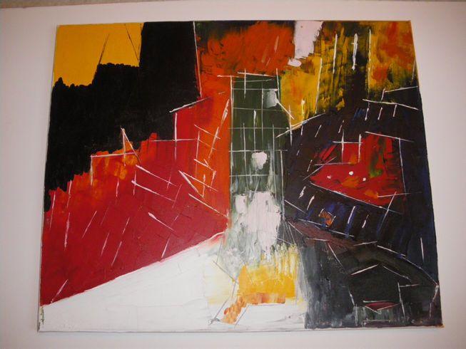 Mainframe city 3 Oil on canvas