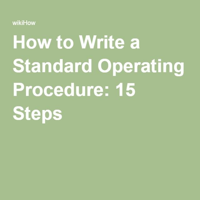 how to prepare standard operating procedure