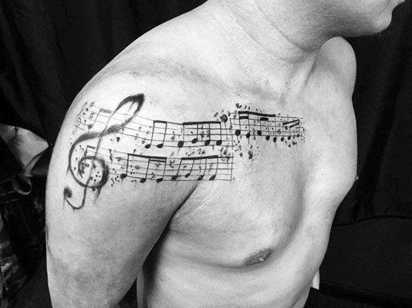 50 Music Staff Tattoo Designs For Men Musical Pitch Ink Ideas In 2020 Music Staff Tattoo Tattoo Designs Men Music Tattoo Designs