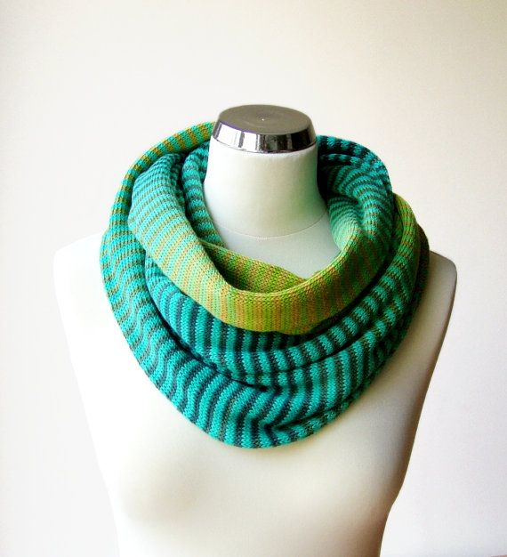 Cotton knit infinity scarf in the shades of turquoise and green with stripes. Colorful, ombre knitted loop scarf by rukkola on Etsy. #knittedinfinityscarf #cottonknitscarf