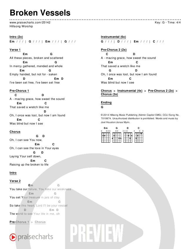 Hillsong Worship - Broken Vessels Chord Chart in G p.1