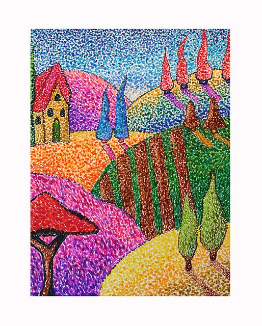 stipjes schilderen verschillende kleuren stipjes geven het effect van mengen