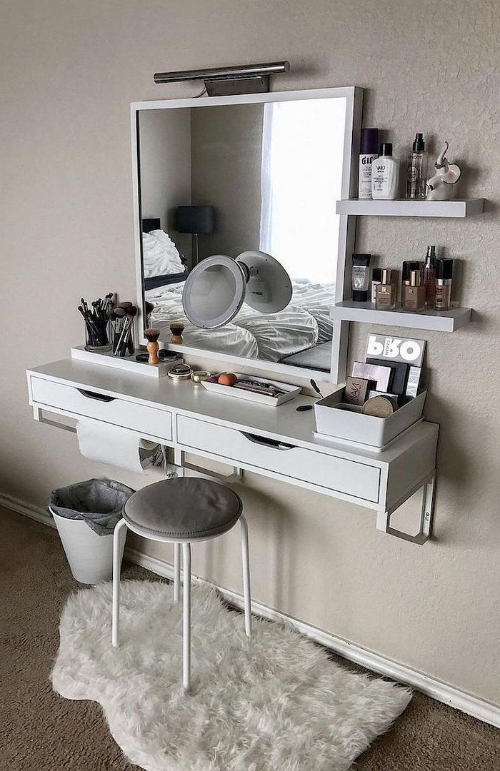 1001 Makeup Vanity Ideas To Create Your Very Own Beauty Salon Small Bedroom Decor Small Room Ikea Bedroom Design On A Budget