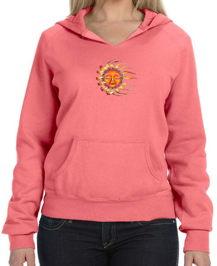 "Ladies SLEEPING SUN Raw-Edge Hoodie, 2XL Neon Orange Red. This beautiful, vibrant-colored hoodie features a content sleepy sun!. Cozy comfort in amazing colors detailed with fun, distressed raw edges. 80% Ringspun cotton - 20% Polyester. Distressed raw edges on neckline and front pouch pocket. ""Yoga Clothing for You"" guarantees your satisfaction on every purchase!."