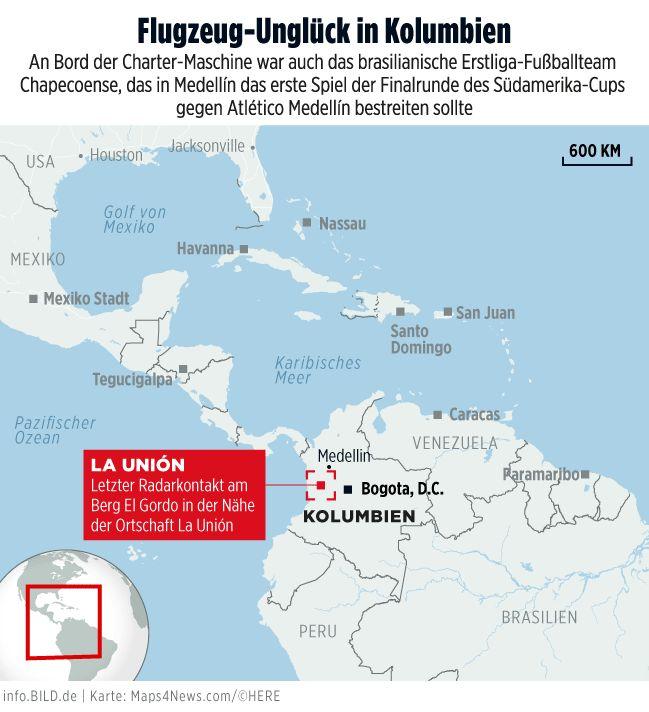Karte: Flugzeug-Unglück in Kolumbien (28.11.2016) - Infografik