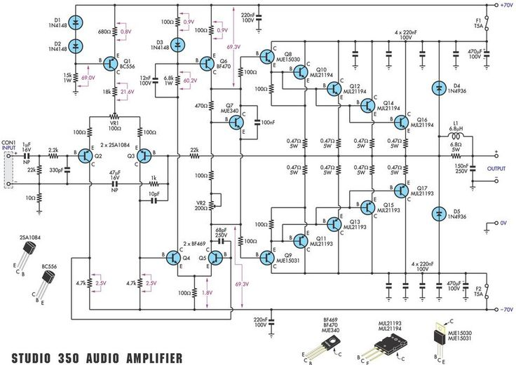 power amp circuit electronic circuit diagram and layout
