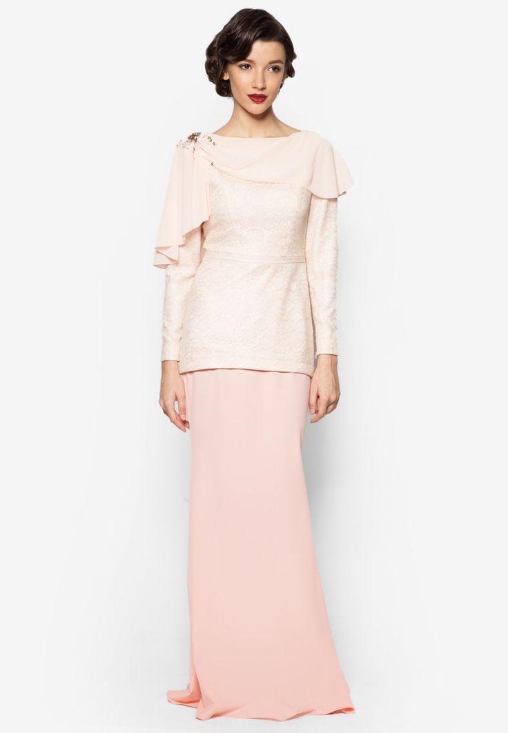 Karina Baju Kurung from Jovian Mandagie for Zalora in pink and orange_1