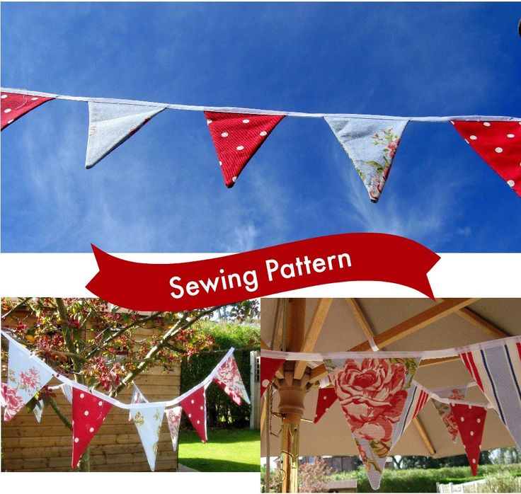 Set of 2 Garden Party Bunting Patterns  Easy no-sew and Traditional Stitched garden decoration beginners sewing pattern template included by LillyBlossom on Etsy