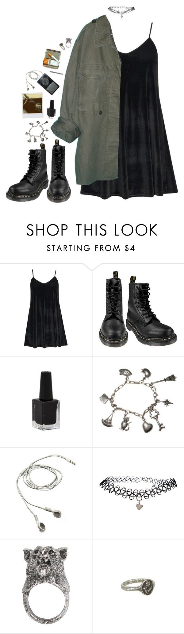 """""""stranger things have happened here"""" by dahmergirl ❤ liked on Polyvore featuring Boohoo, Dr. Martens, Rimmel, Rubie's Costume Co., Polaroid, ASOS, Gathering Eye, Pyrrha, black and Dark"""