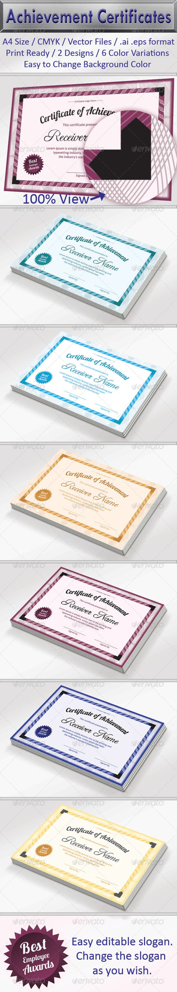 """Achievement Certificate Pack #GraphicRiver Editable Fonts Editable Colours Editable Vector Files Ready for Printing Size: A4 with 3mm or 0.125"""" Bleed 2 Designs with 6 Different Colours Color Mode: CMYK Layer: Yes, it have separate layers. Files included in main folder: .ai, .eps, Help file.pdf Free Fonts used Lobster 1.3 Regular ( .fontsquirrel /fonts/Lobster), Asap Regular ( .fontsquirrel /fonts/asap) , Freebooter Script Regular ( .fontsquirrel /fonts/Freebooter-Script) Created: 6 December…"""