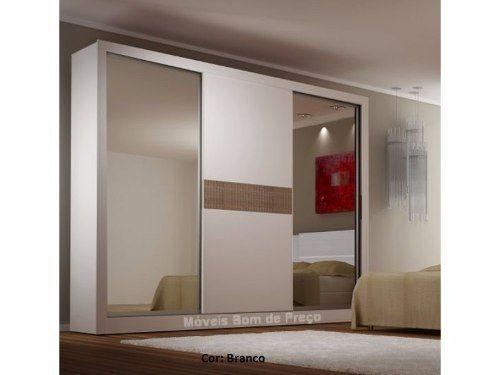 Guarda Roupa Casal 100%mdf 2 Espelhos Laterais- Monet