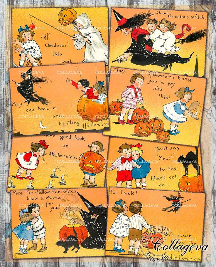Follow the Witch Digital ACEO ATC Tag Label, Halloween Orange Jack-o-lantern, Vintage Pumpkin Printable card, Black cat. Children (T023-a) by collageva on Etsy