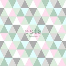 Talvi-ALE! ESTA Everybody Bonjour Tapetti triangles vaaleanpunainen, minttu & harmaa 53 cm x 10,05 m Non-woven - Talotarvike.com