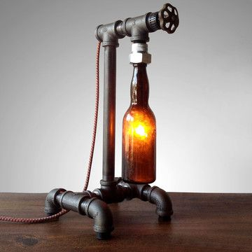 Upcycled beer bottle lamp