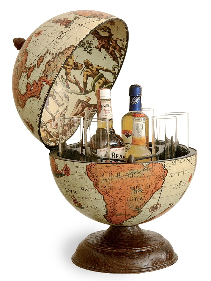 "Renaissance World Desk Globe Bar - Italian, 13"" Diameter, Safari Love this colour , so warm"