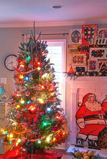 shiny brite christmas i like the boxes of vintage ornaments on the mantel christmas tree colored lightsretro - Vintage Christmas Tree Lights