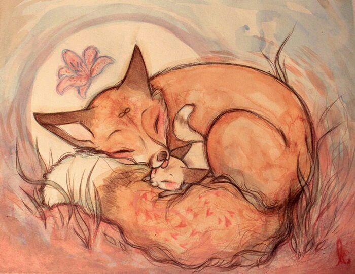 Картинка котенок и лисенок