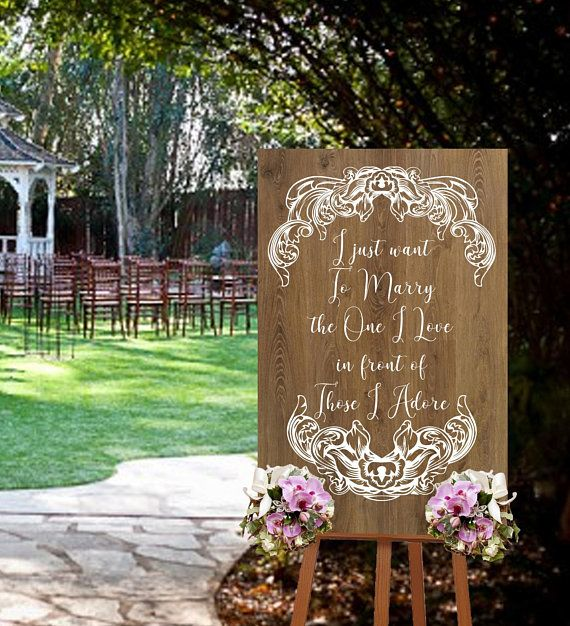 This Vintage Style Wedding Sign Decal Or Single Use Stencil Reads I Just Want To Marry The One I Love In Wedding Decal Wedding Signs Diy Wedding Signs Decals