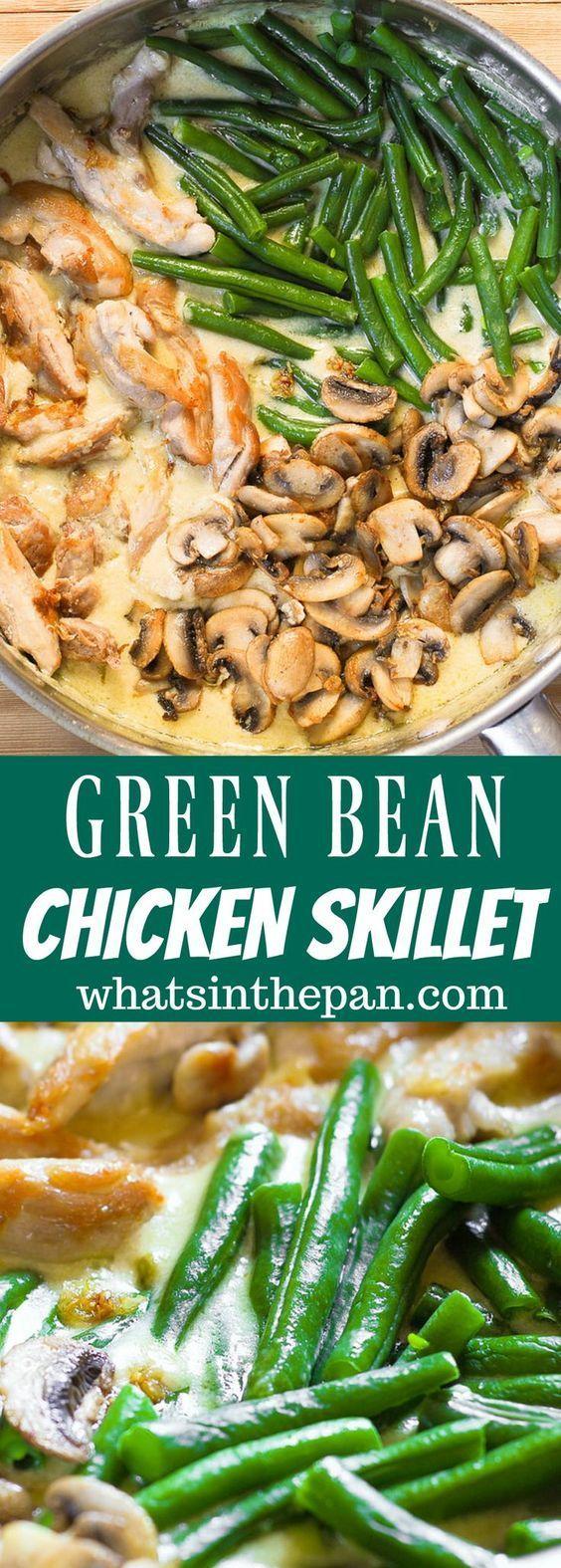 Chicken Creamy Sauce with Green Beans Mushroom